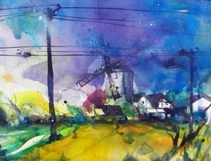 Landschaft mit Mühle, 56 x 76 cm, 2013