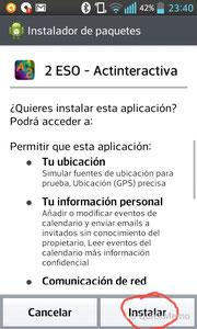 """Haces clic en """"Instalar"""", esperas un mometín, y... ¡¡LISTO!! Ya tienes nuestra aplicación instalada en tu móvil o tableta."""