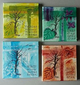 Acrylmalen vier Jahreszeiten
