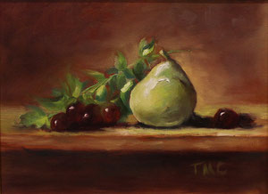 """Still Life with Pear  oil  11"""" x 14""""(inspired by Kelli Folsom Fine Art from subscribed online demos)   $280"""