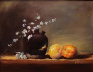 """Still Life with Peaches  oil  11"""" x 14"""" (inspired by Kelli Folsom Fine Art from subscribed online demos) $290  SOLD"""