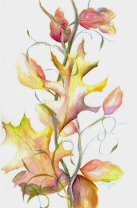 "Fall Leaves  watercolor 8"" x 12""  $110"