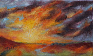 """Late Day  oil  6"""" x 10""""  $150"""