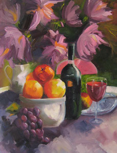 """Still Life with Fruit  oil 36"""" x 24""""  $395"""