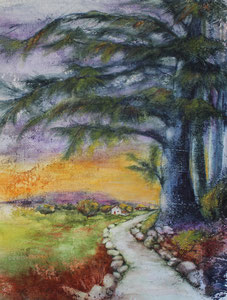 """Tuckaway Lane watercolor 20"""" x 16""""  $245"""