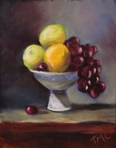 """Fruit Bowl  oil  14"""" x 11"""" (inspired by Kelli Folsom Fine Art from subscribed online demos)  $280"""