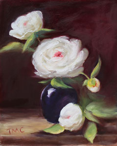 """Peonies  oil  14"""" x 11  $280 (inspired by Kelli Folsom Fine Art from subscribed online demos) SOLD"""