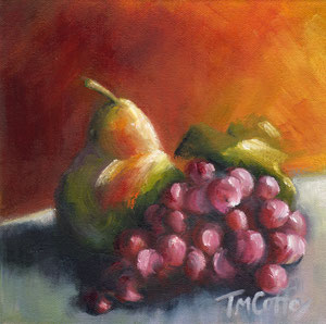 """Pear with Grapes  oil  8"""" x 8""""  $125"""