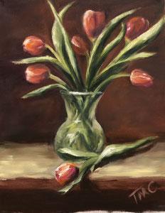 "Tulips  oil  14"" x 11""  $280"