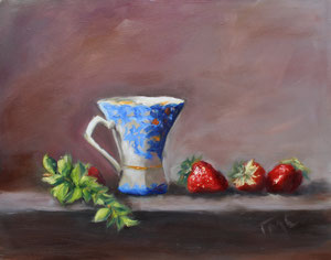 """China Cup and Strawberries  oil 11"""" x 14""""(inspired by Kelli Folsom Fine Art from subscribed online demos)  $280"""