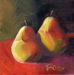 """Two Pears  oil  8"""" x 8""""  $125"""