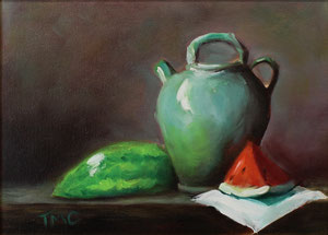 """Still Life with Watermelon  oil  9"""" x 12""""  (inspired by Kelli Folsom Fine Art from subscribed online demos) $255"""