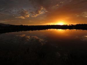 Portugal, Algarve, lever de soleil sur des marais salan