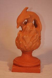 Flamme Dauphin + pied hauteur 30 cm