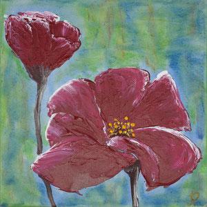 Blütenzauber, Acryl auf Leinwand, Spachteltechnik, 30x30 cm. 350.-