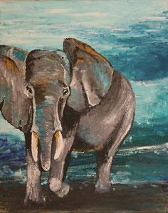 Elefant, Acryl auf Leinwand, als Repro
