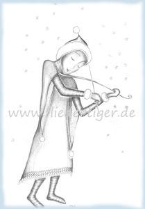 Winterelfe mit Grashalmgeige