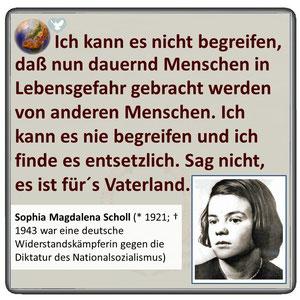 Friedenszitat von Sophia Scholl