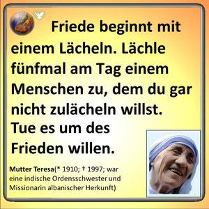 Friedenszitat von Mutter Theresa