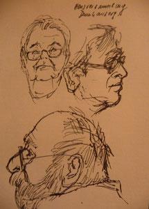Skizzen von einer Hausversammlung
