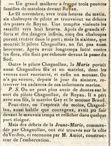 Novembre 1852 Naufrage de la Jeune Marie