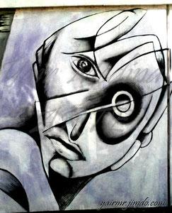 Sin título. Yair Medina, acrílico sobre muro, 150x100 cm aprox., 2012.