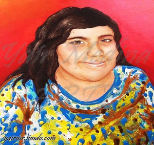 """Kendra"" (Vendida-Sold) Yair Medina, acrílico sobre lienzo, 70x70 cm aprox., 2014."