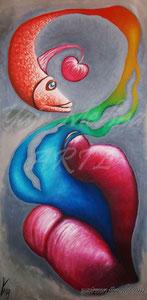"""""""Emociones orales"""" (Vendida-Sold) Yair Medina, óleo sobre lienzo, 100x50 cm, 2012."""