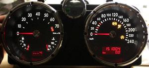 Lupo GTI KI, weiß/rot, Display invertiert (Darstellung ohne Uhr)