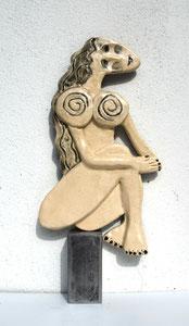 Sculpture femme contemporaine  Pépette point com Ninou N° 7 H32.5X16CM