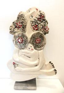 87 Sculpture femme contemporaine ET SON BEBE 29X18CM disponible