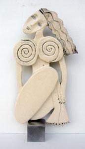 Sculpture femme contemporaine  Pépette point com Véra N° 17 H30X14CM