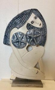 64 Sculpture femme contemporaine ROMANTIQUE 30X17.5CM disponible