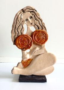 Sculpture femme contemporaine  Pépette point com Martine N° 48 H27.5X17CM
