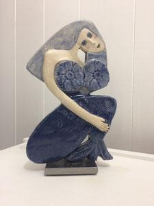 Sculpture femme contemporaine  Pépette point com en sirène N° 59 H24X14.5CM