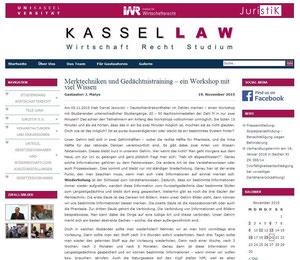 KasselLAW / Universität Kassel - Bericht Workshop Merktechniken & Gedächtnistraining - Gastautor: J. Matys