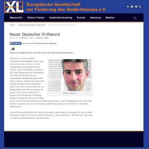Bericht der Gesellschaft zur Förderung des Gedächtnisses e.V. über den Deutschlandrekord