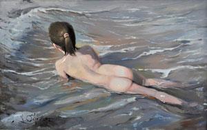 Niña en el Agua. Óleo sobre lienzo, 61X38