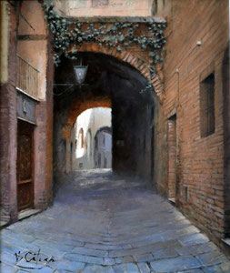 Calle de Siena. Óleo sobre tabla, 30X25