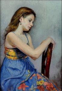 La Joven de Azul. Óleo sobre tabla, 32X24,5
