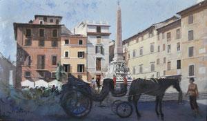 Piazza Della Rotonda, Roma. Óleo sobre tabla, 46X27