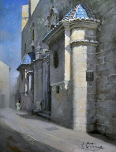 Fachada de la Iglesia de San Martín-Valencia. Óleo sobre tabla, 35X27