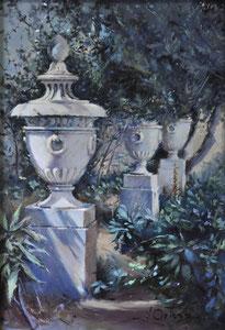 Jardín Catedraliceo. Óleo sobre tabla, 32X24,5