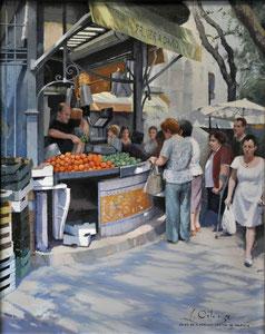 Un Día en el Mercado Central de Valencia. Óleo sobre lienzo, 81X65