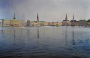 Lago Alster-Hamburgo. Óleo sobre tabla, 82X54