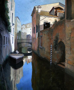 Canal Veneciano. Óleo sobre tabla, 73X60