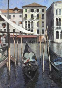 Embarcadero Veneciano. Óleo sobre lienzo, 92X65