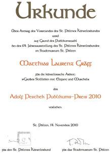 Urkunde des Adolf Peschek Puplikumspreis an Matthias Laurenz Gräff. Stadtmuseum St. Pöltner Künstlerbund