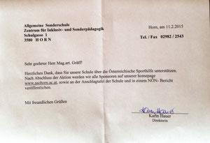 Dankschreiben seitens der Direktorin der Allgemeinen Sonderschule Horn