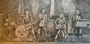 Meine Bleistiftzeíchnung der Band vom Wacken Festival 2013 für das Plakat